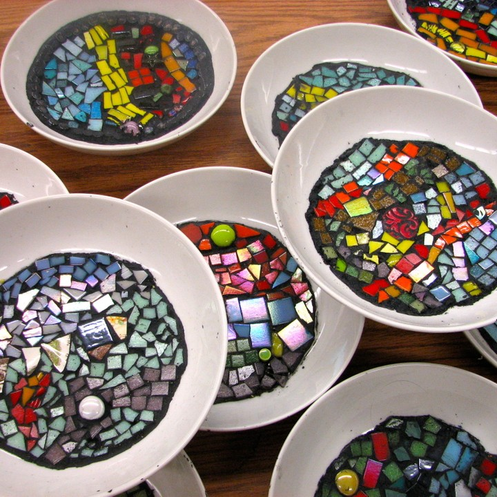 Athlone School Empty Bowls  program - Ted Harrison themed mosaics