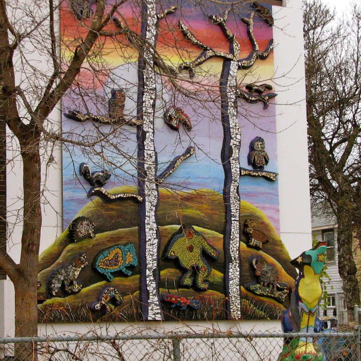 Parent group made the trees for the boreal forest mural.  Animals by the students of Wellington School.  Painted mural by Wellington Art teacher and students.