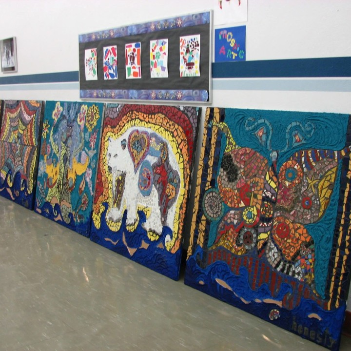 The School by the river Mosaics....they will be installed on the Mulvey elementary school fence in Spring of 2014.