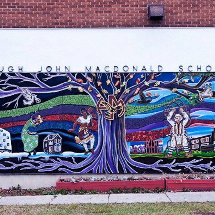 High John MacDonald Mural created by students, community members and teachers of Hugh John MacDonald School.