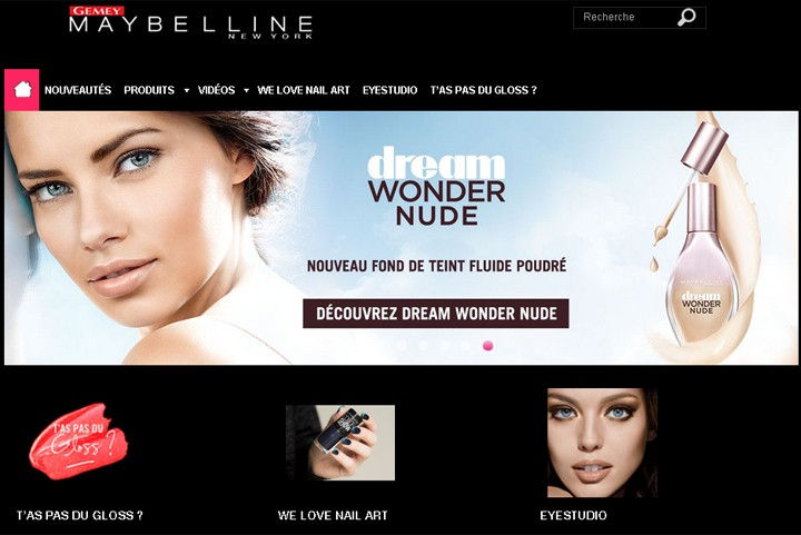 Page d'accueil du site Maybelline France