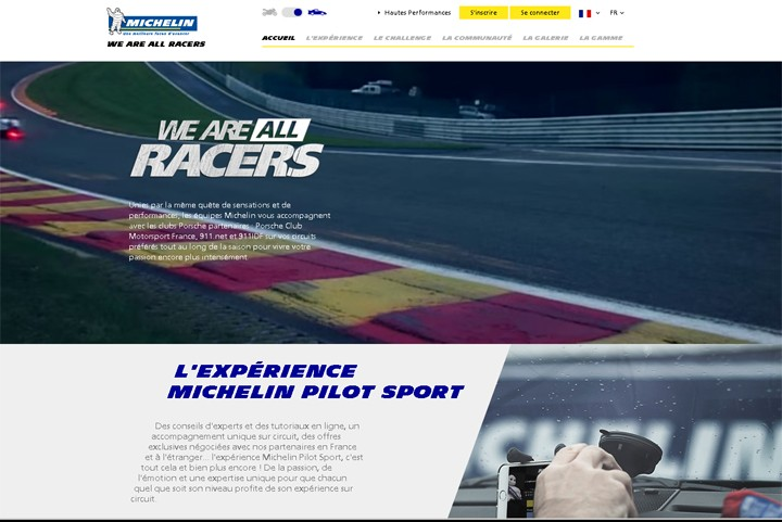 Page d'accueil du site Michelin We Are All Racers