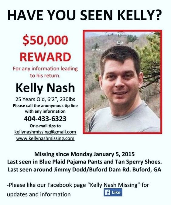 The family of Kelly Nash, a 25-year-old Buford man last seen Jan. 5, has increased the reward for information leading to his return to $50,000.