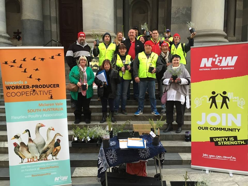 fleurieu poultry and national workers union reps on the steps of Parliament House, Adelaide