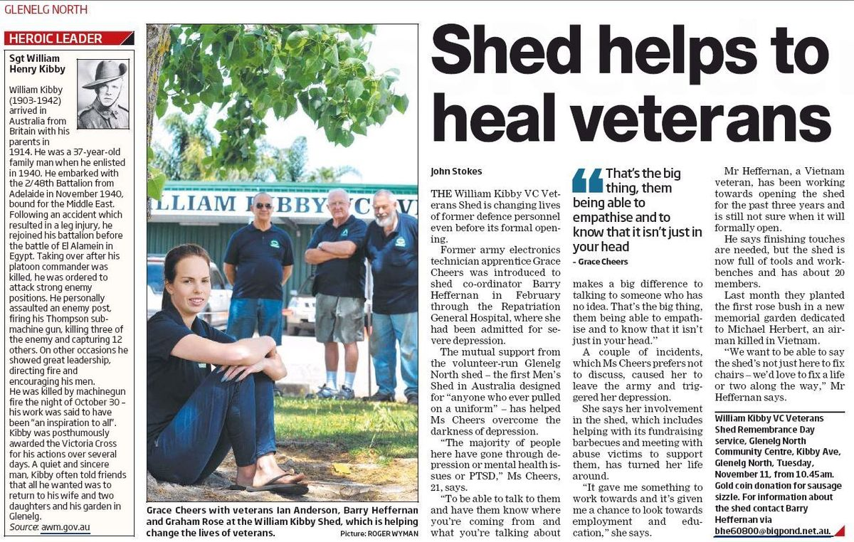 screenshot of veterans shed article in messenger