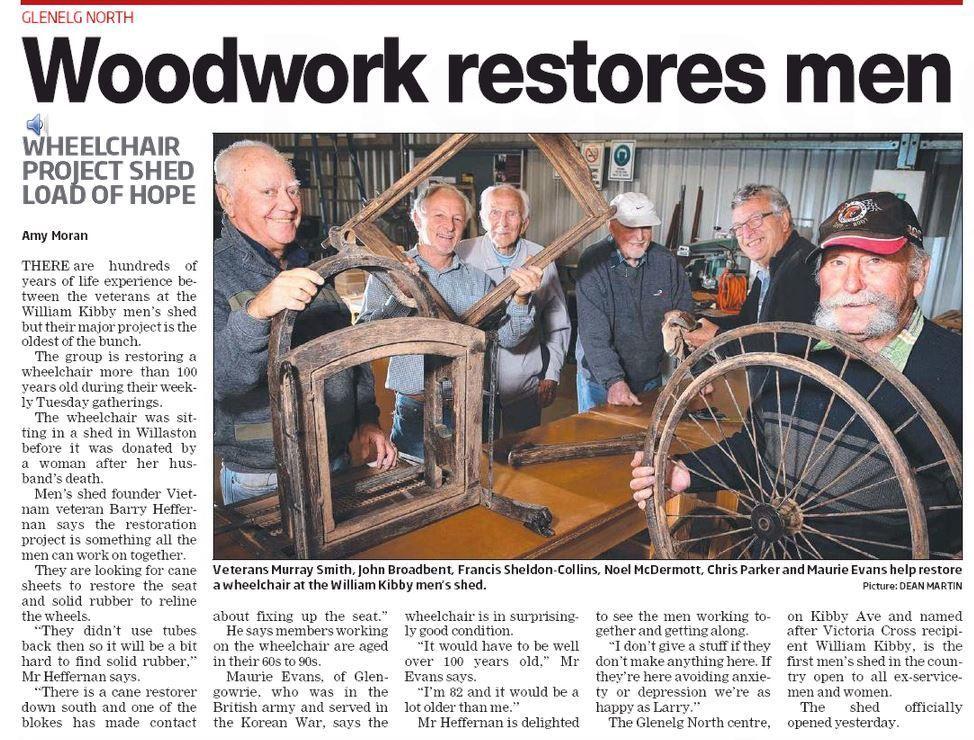 screenshot of messenger article men at work in veterans shed