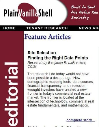 Screenshot of Ben LaFreniere's piece chosen as Featured Article for Plain Vanilla Shell
