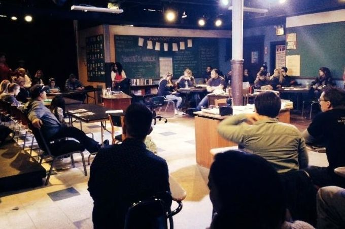 """post-show """"town hall"""" discussion, following a performance of CollaborAction's """"Forgotten Future: The Education Project"""""""