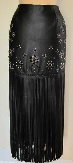 Black Lamb skin short skirt with long fringe