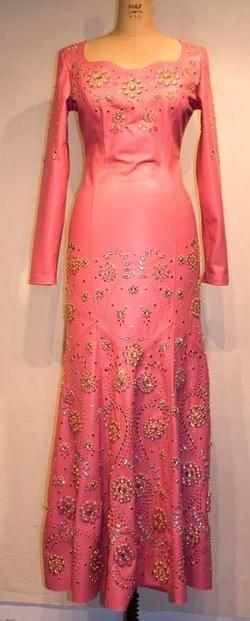 Lisa Leather lace Pink dress