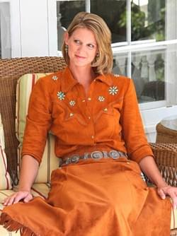 Honey Blouse,Yarrow Skirt in Suede