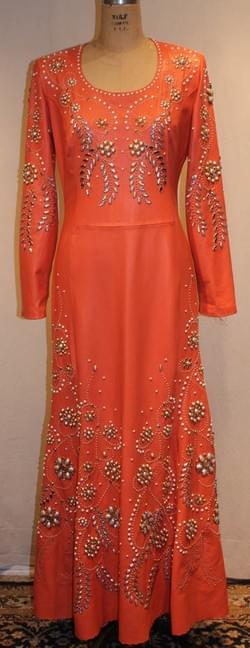 Crystals Coral studded Lamb skin dress