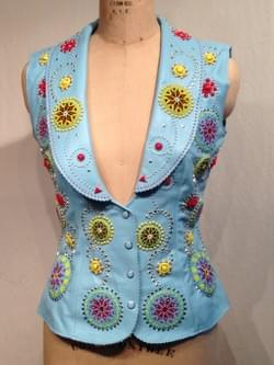 LT BLUE ROSETTE SHAWL COLLAR  VEST