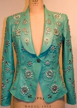 STEPHANIE TURQUOISE LEATHER JACKET