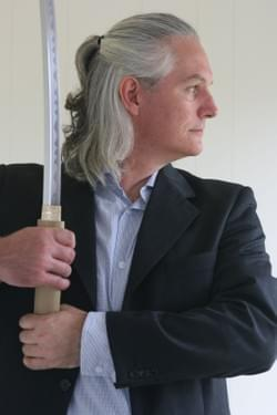 Tim Tipene with sword