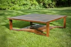Low square walnut table