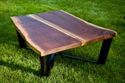 Low rectangle walnut table live edge