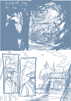 Sketched page. Trying to figure out the layout of the page.