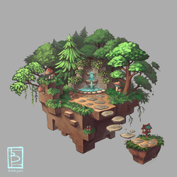 Some isometric concept art. A mystical floating Island that I made because I wan't to apply for internship at some gaming companies next semester. I think it turned out well and I learned a lot and had a great deal of fun with it. WIll definitely try and do more of this stuff.