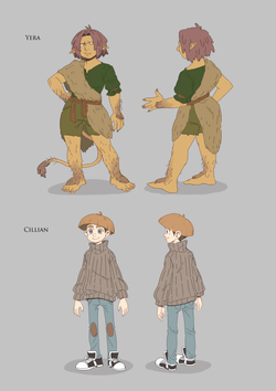 Two character designs featuring two troll/human hybrid and her friend, a young human boy with a haircut that should become the latest trend.
