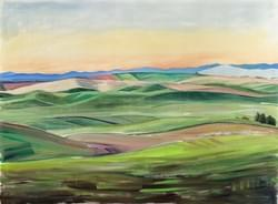 Palouse in Pink and Green 48x66 oil and wax on paper