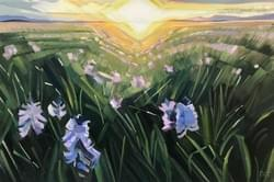 "Camas Prairie Evening Glow 20""x30"" oil, wax and charcoal on linenl"