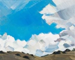 "Cusp of Spring Cloud Spill #2 8""x10"" oil and wax on linen"