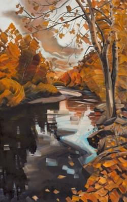 "Boise River Autumn 52""x31"" oil and wax on linen"