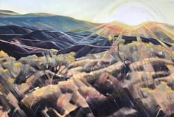 "First Light on Foothills 20""x30"" oil and wax on linen"