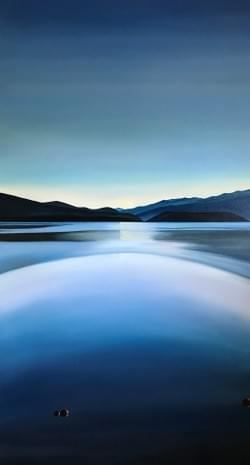 "Portal - Payette Lake 88""x48"" oil and wax on linen"