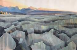 "Sawtooth  Summer Sunrise 20""x30"" oil and wax on linen"