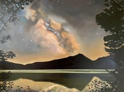 Milky Way Over Pettit Lake 30x40 oil and wax on linen