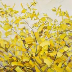 "Blossoms on Grey - Forsythia 35""x35"" 2 oil andwax on linen"