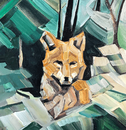 Fox Commission 5x5 oil and wax on panel