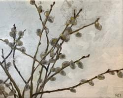 "Pussy Willow 8""x10"" oil and wax on linen"