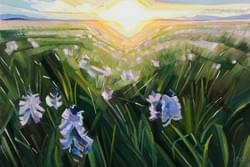 "Camas Prairie Evening Glow 20""x30"" oil and wax on linen"