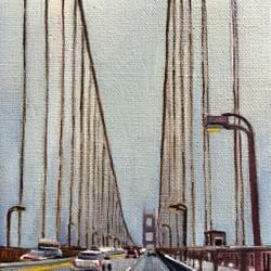 "First Crossing of the Golden Gate  ""5x5"" Oil and wax on linen"