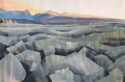 "Foothills Summer Sunrise 20""x30"" oil and wax on linen"