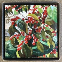 "Simple Things - WinterBerries 5""x5"" oil and wax on linen"