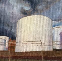 "Intersection 20 (Tank Farm)  2.75""x2.75"" oil and wax on linen"