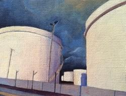 "Intersection 21 (Tank Farm)  4.25""x5.25"" oil and wax on linen"