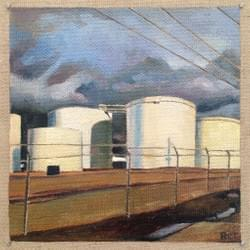 "Intersection 24 (Tank Farm)  5""x5"" oil and wax on linen"