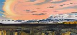 "Lost River Sunset  28""x62"" oil and wax on linen"
