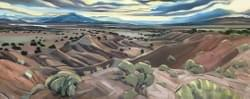 "Pedernal from Ghost Ranch, 24""x60"" oil and wax on linen"