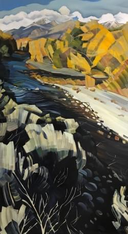 "Portal - Big Lost River and Mount Borah 88""x48"" oil and wax on linen"