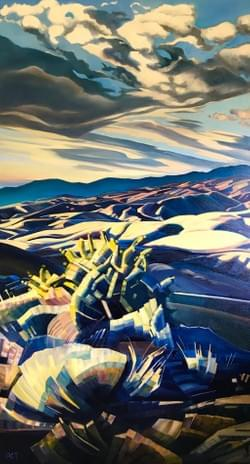 "Portal - Boise Foothills 88""x48"" oil and wax on linen"