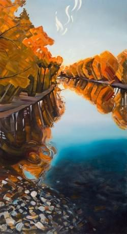 "Portal - Boise River 88""x48"" oil and wax on linen"