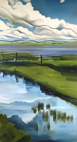 "Portal - Centennial Marsh 88""x48"" oil and wax on linen"