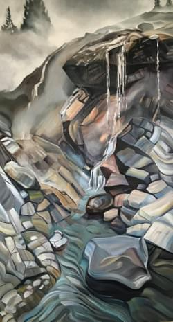 "Portal - Kirkham Hot Springs 88""x48"" oil and wax on linen"