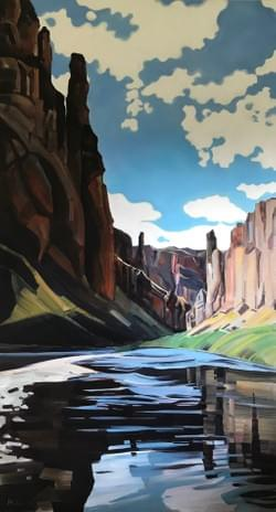 "Portal - Owyhee River 88""x48"" oil and wax on linen"